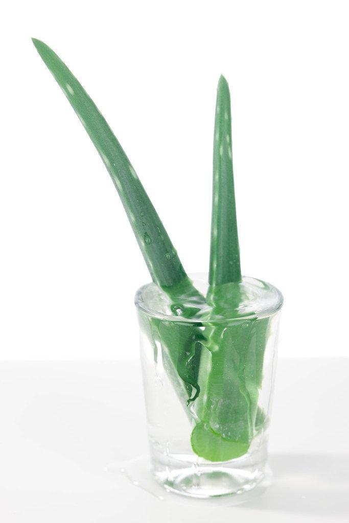Aloe Vera tagliata in un bicchiere di succo d'aloe