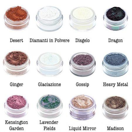 Ombretti minerali al 100% in polvere libera di Neve Cosmetics