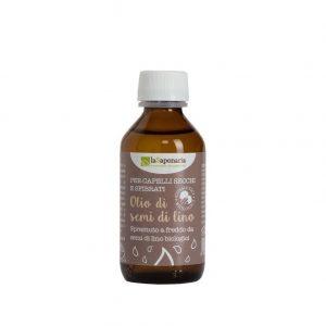 Olio di semi di lino biologico puro al 100% per spremitura a freddo di La Saponaria da 100 ml