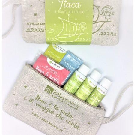 Pochette Itaca travel set/kit di La Saponaria con prodotti cosmetici mini ecobio per donna di La Saponaria