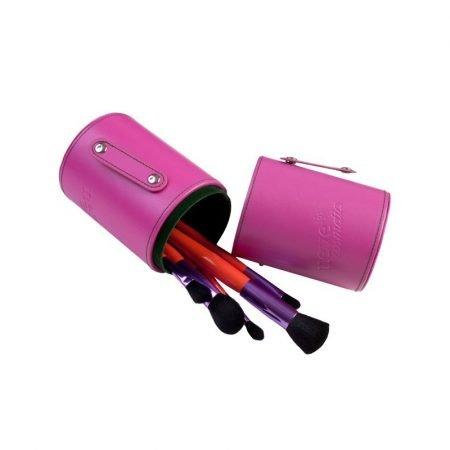 Porta pennelli professionale per make-up professionale color rosa contenitore chiuso antipolvere di Neve Cosmetics