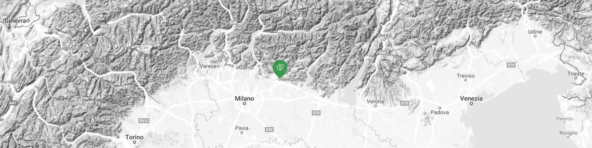 Mappa in rilievo della sede operativa di Italeen.com localizzata nella città di Bergamo