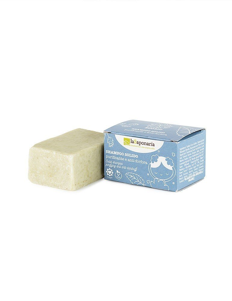Shampoo solido purificante e antiforfora naturale e vegan de La Saponaria da 50 g
