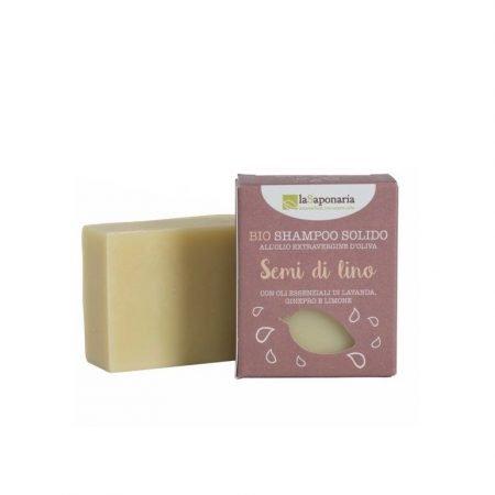 Shampoo solido naturale e vegan ai semi di lino di La Saponaria